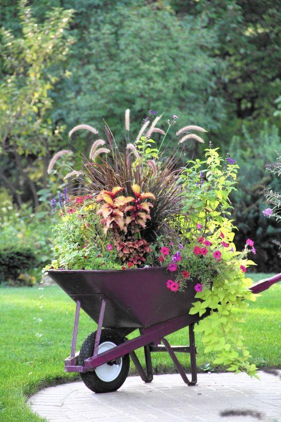 Kwietnik ogrodowy z taczki